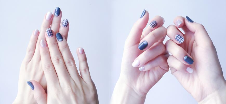 Minimalist Nail: grey glitters